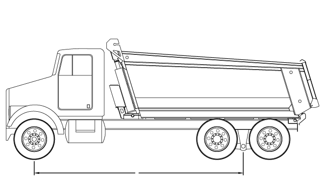 Bridge law example: tandem dump truck with 215 inch wheelbase and 51,000 lbs GVW